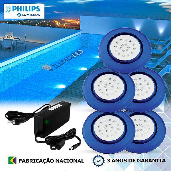 37 - KIT ILUMINAÇÃO DE PISCINA 18w | 12,5 cm | COR FIXA | 5 Luminárias | LED PHILIPS