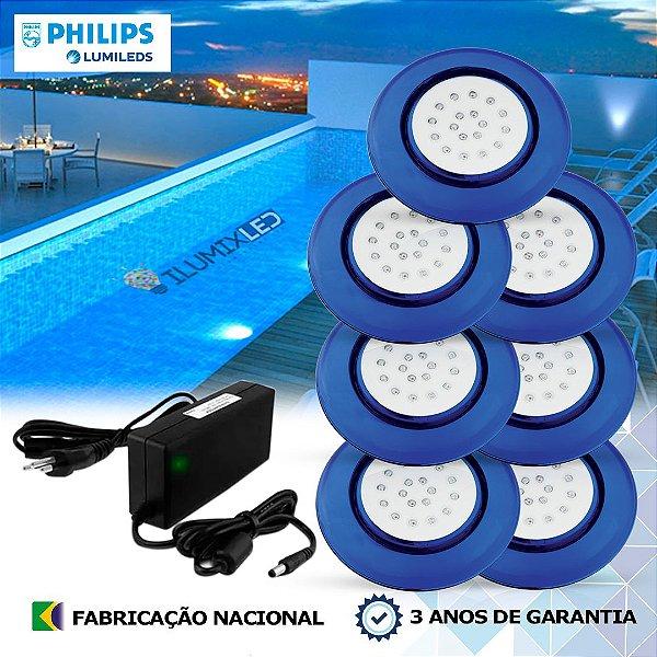 39 - KIT ILUMINAÇÃO DE PISCINA 18w | 12,5 cm | COR FIXA | 7 Luminárias | LED PHILIPS