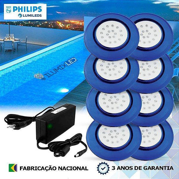 40 - KIT ILUMINAÇÃO DE PISCINA 18w | 12,5 cm | COR FIXA | 8 Luminárias | LED PHILIPS