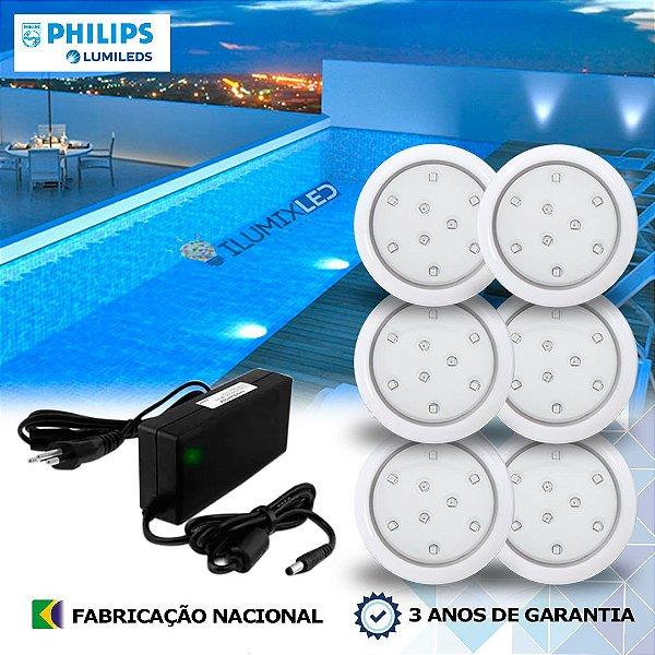 06 - KIT ILUMINAÇÃO DE PISCINA 9w | 8 cm | COR FIXA | 6 Luminárias | LED PHILIPS
