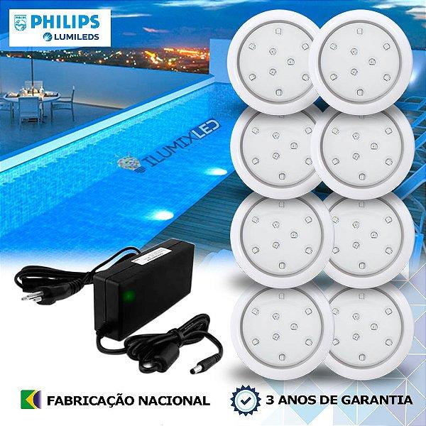 08 - KIT ILUMINAÇÃO DE PISCINA 9w | 8 cm | COR FIXA | 8 Luminárias | LED PHILIPS