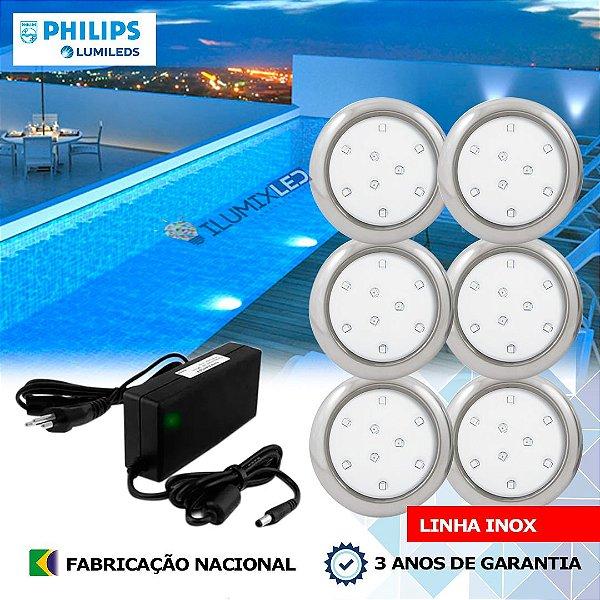 14 - KIT ILUMINAÇÃO DE PISCINA 9w   8 cm   INOX   COR FIXA   6 Luminárias   LED PHILIPS