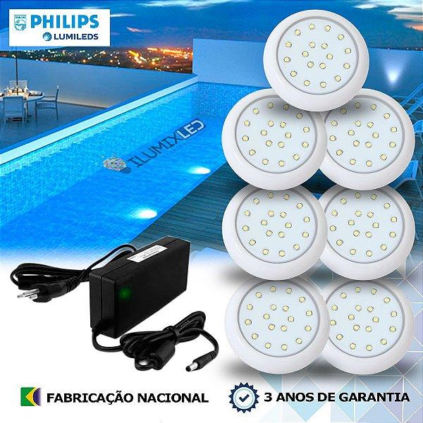 23 - KIT ILUMINAÇÃO DE PISCINA 18w | 8 cm | COR FIXA | 7 Luminárias | LED CHIP PHILIPS