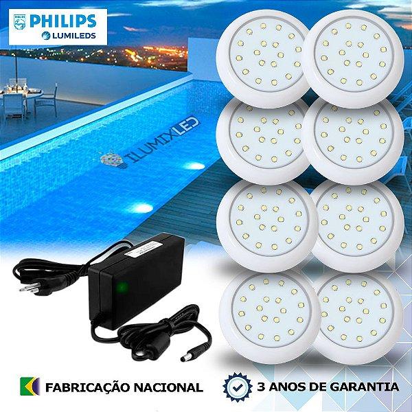 24 - KIT ILUMINAÇÃO DE PISCINA 18w | 8 cm | COR FIXA | 8 Luminárias | LED CHIP PHILIPS