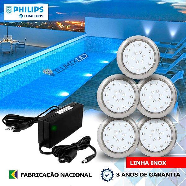 29 - KIT ILUMINAÇÃO DE PISCINA 18w | 8 cm | INOX | COR FIXA | 5 Luminárias | LED PHILIPS