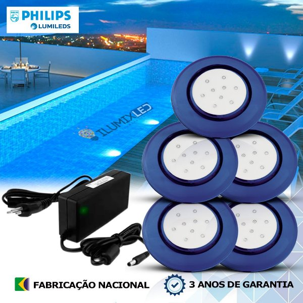 45 - KIT ILUMINAÇÃO DE PISCINA 9w | 12,5 cm | COR FIXA | 5 Luminárias | LED CHIP PHILIPS