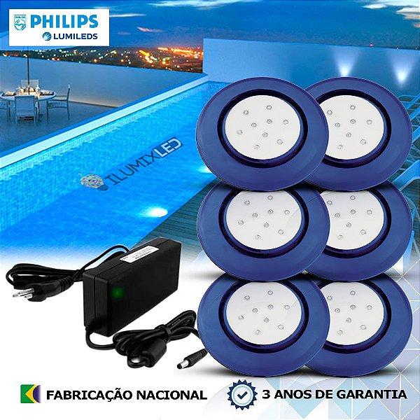 46 - KIT ILUMINAÇÃO DE PISCINA 9w | 12,5 cm | COR FIXA | 6 Luminárias | LED PHILIPS