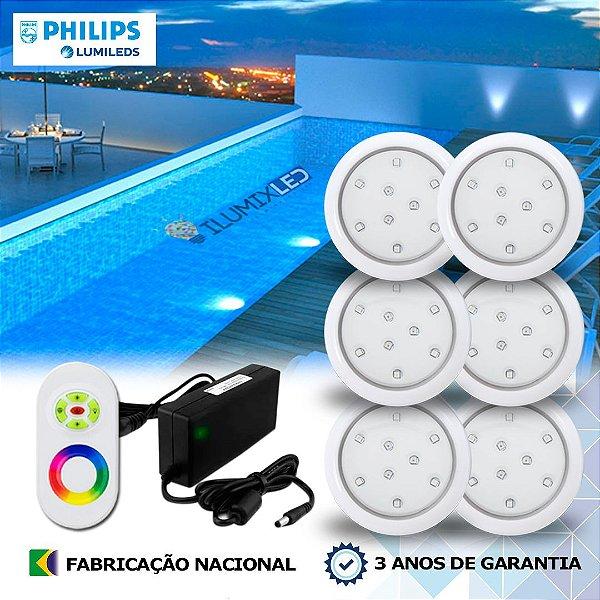 54 - KIT ILUMINAÇÃO DE PISCINA 9w | 8 cm | RGB Sistema Colorido | 6 Luminárias | LED CHIP PHILIPS