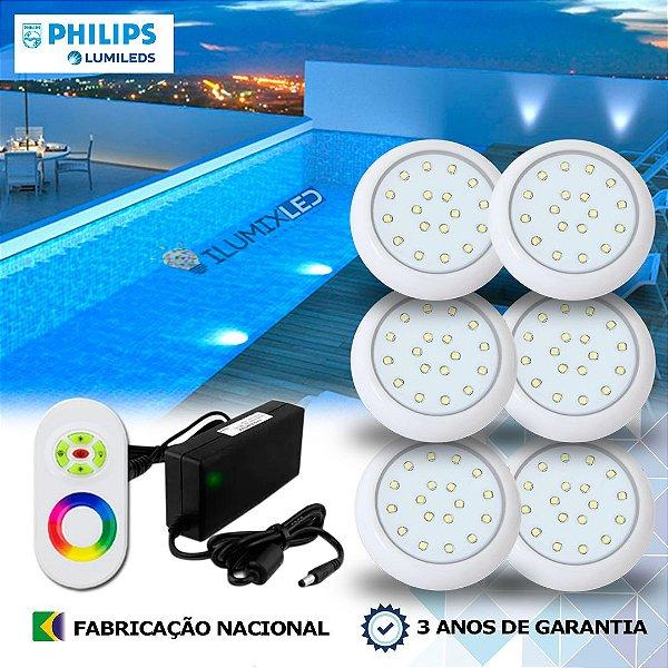 62 - KIT ILUMINAÇÃO DE PISCINA 18w | 8 cm | RGB Sistema Colorido | 6 Luminárias | LED CHIP PHILIPS