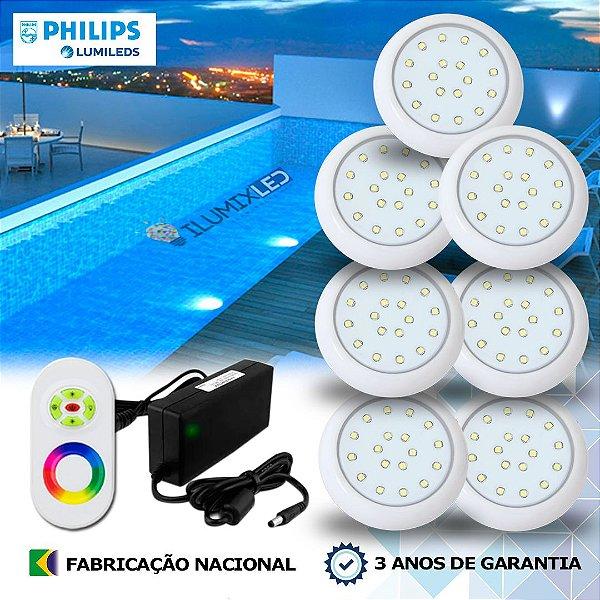 63 - KIT ILUMINAÇÃO DE PISCINA 18w | 8 cm | RGB Sistema Colorido | 7 Luminárias | LED CHIP PHILIPS