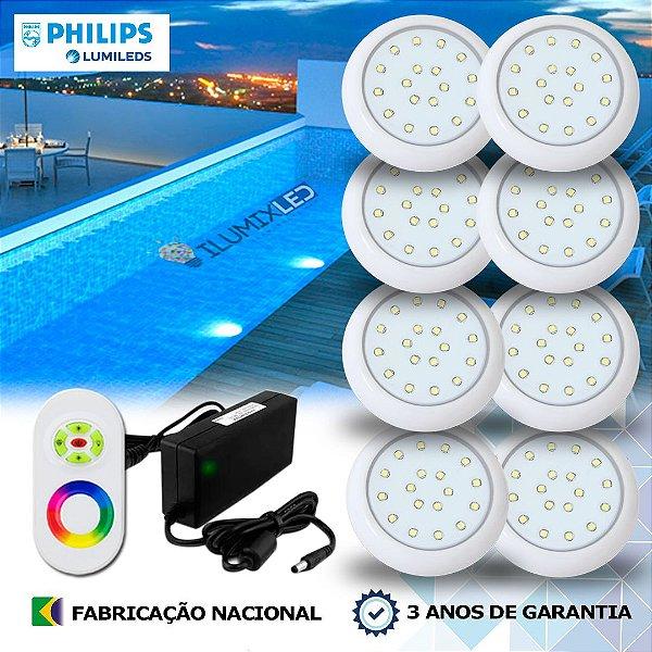 64 - KIT ILUMINAÇÃO DE PISCINA 18w | 8 cm | RGB Sistema Colorido | 8 Luminárias | LED CHIP PHILIPS