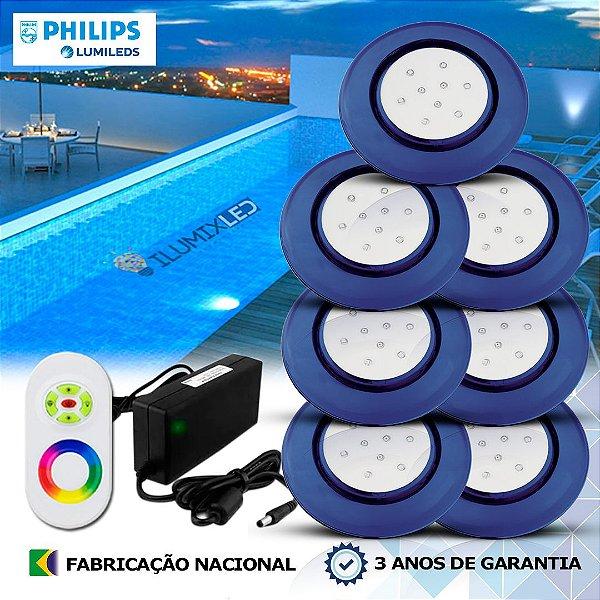71 - KIT ILUMINAÇÃO DE PISCINA 9w | 12,5 cm | RGB Sistema Colorido | 7 Luminárias | LED CHIP PHILIPS