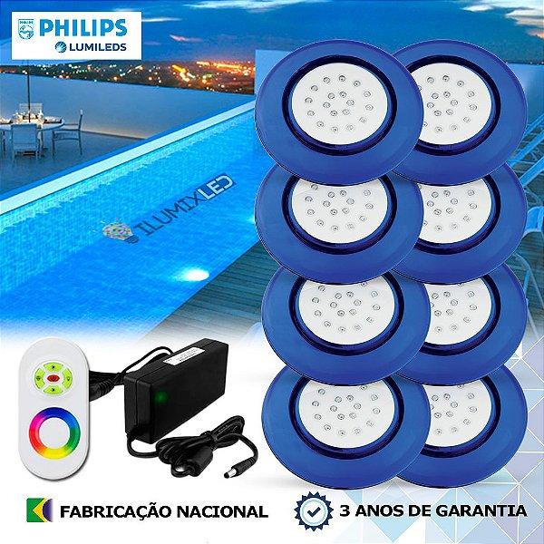 81 - KIT ILUMINAÇÃO DE PISCINA 18w | 12,5 cm | RGB Sistema Colorido | 8 Luminárias | LED PHILIPS
