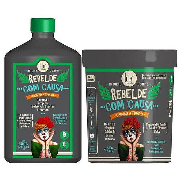 COMBO Shampoo + Máscara Rebelde Com Causa - Purificante e Restaurador - Lola Cosmetics