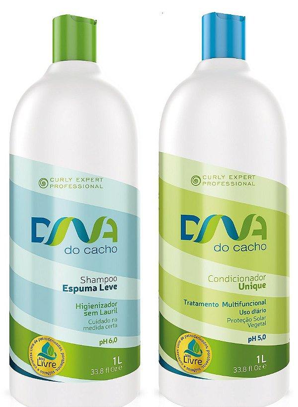 COMBO DNA do Cacho - Shampoo Espuma Leve + Multicondicionante Unique 1L - Salon Embelleze