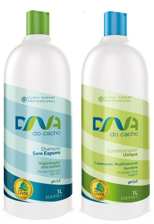 COMBO DNA do Cacho - Shampoo Sem  Espuma + Multicondicionante Unique 1L - Salon Embelleze