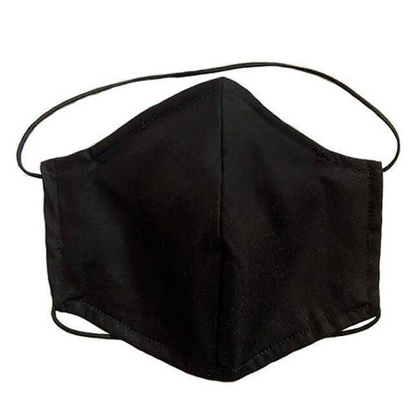 Máscara de Tecido Tripla Camada com Elástico na Cabeça e Pescoço - Preta Tam G - Turban