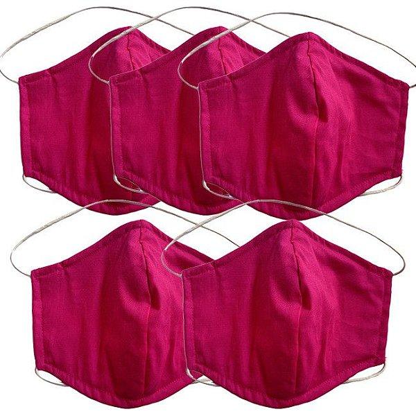 COMBO Máscara de Tecido Tripla Camada com Elástico na Cabeça e Pescoço - Pink Tam G - Turban