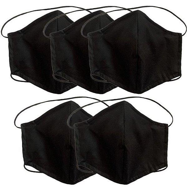 COMBO Máscara de Tecido Tripla Camada com Elástico na Cabeça e Pescoço - Preta Tam M - Turban
