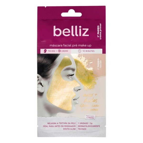 Máscara Facial Pré Makeup com Ouro - Belliz