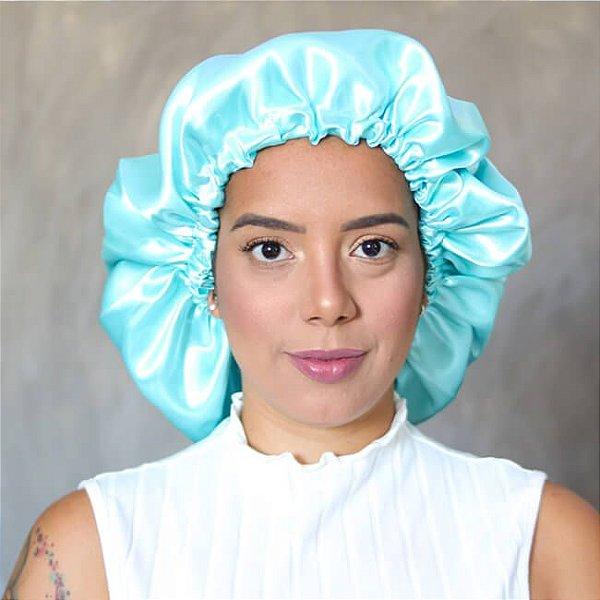 Touca de Cetim Azul Piscina - Turban