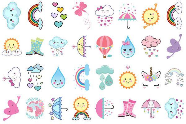 Tatuagem temporária infantil - Chuva de Amor (32 unidades)