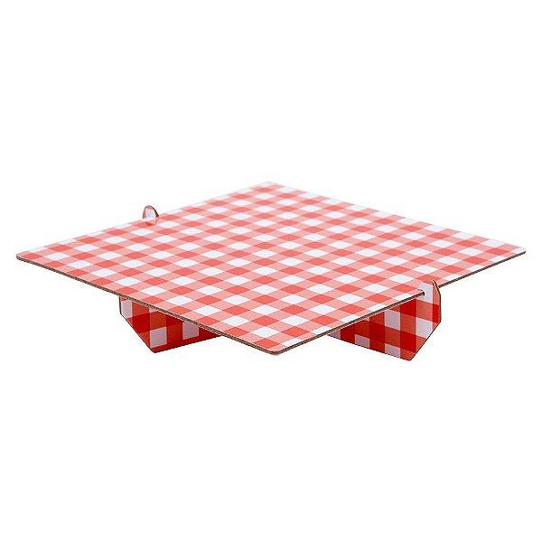 Bandeja Xadrez 20x20 cm - Vichy vermelho (papelão desmontável)
