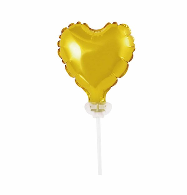 Topo de Bolo Balão Coração - Dourado (unidade - 10 cm)