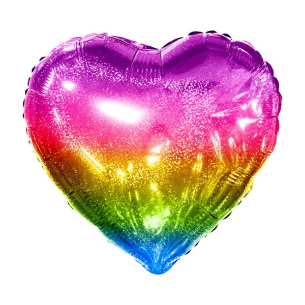 """Balão Holográfico 20"""" Coração - Arco-Íris (unidade - 50 cm)"""