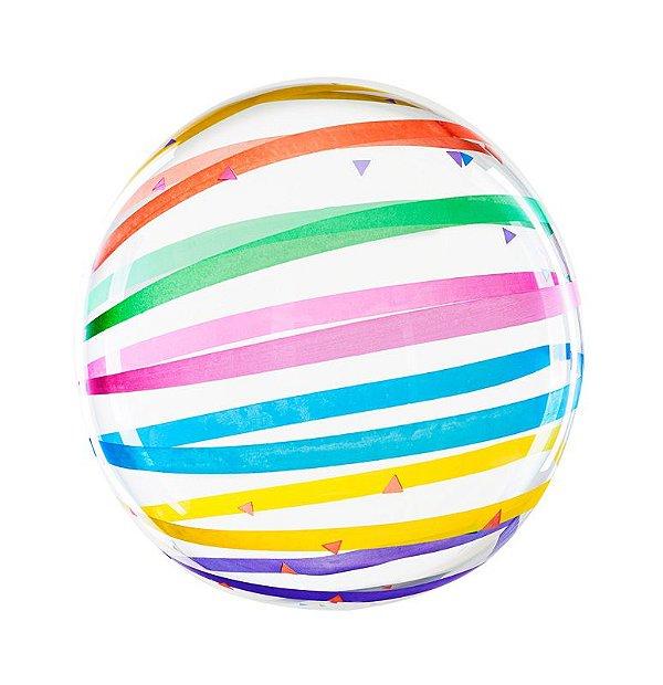 """Balão Bubble 18"""" transparente - Listras Coloridas (45 cm - unidade)"""