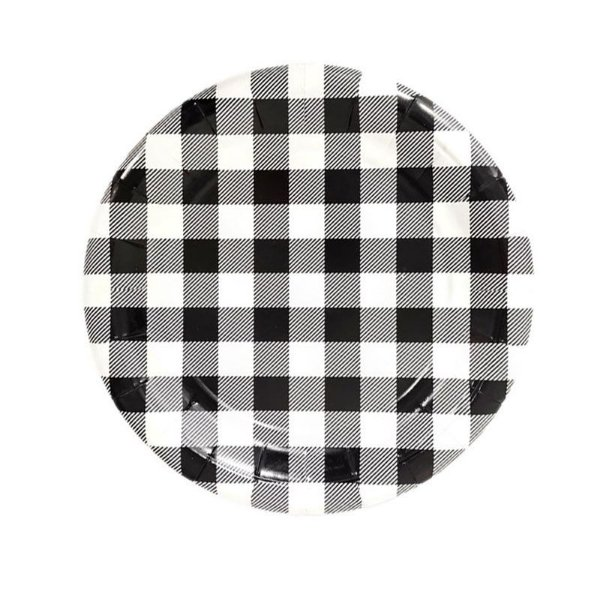 Pratinho de papel xadrez - Vichy Preto (19 cm - 8 unidades)