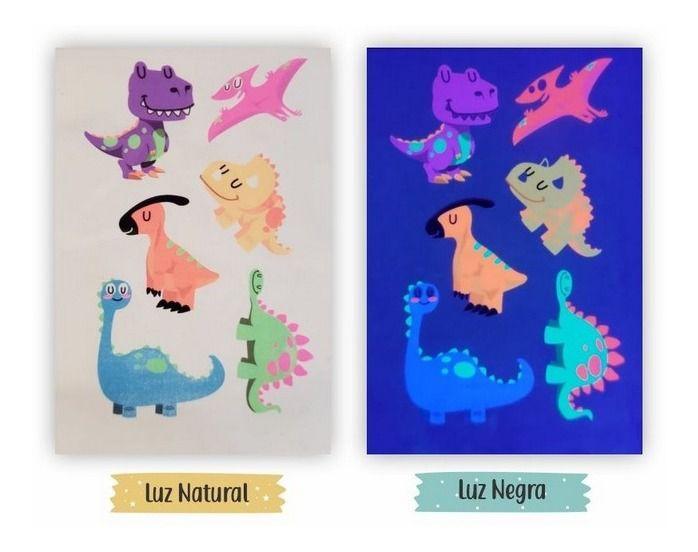 Tatuagem temporária Luz Negra - Dinossauros (6 tatuagens)