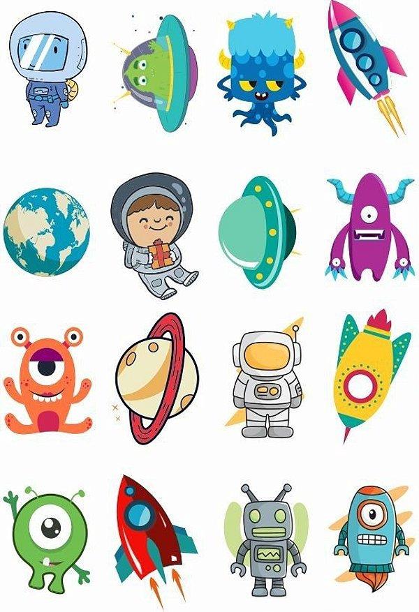 Tatuagem temporária infantil - Astronauta | Espaço (16 unidades)