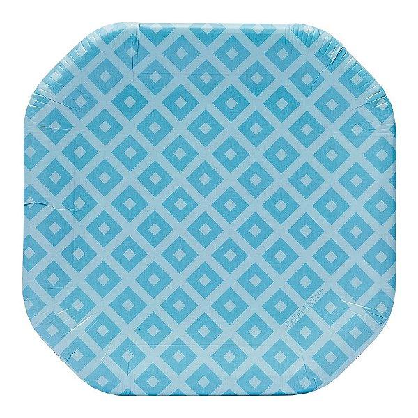 Prato de papel geométrico Azul - 21cm (8 unidades)