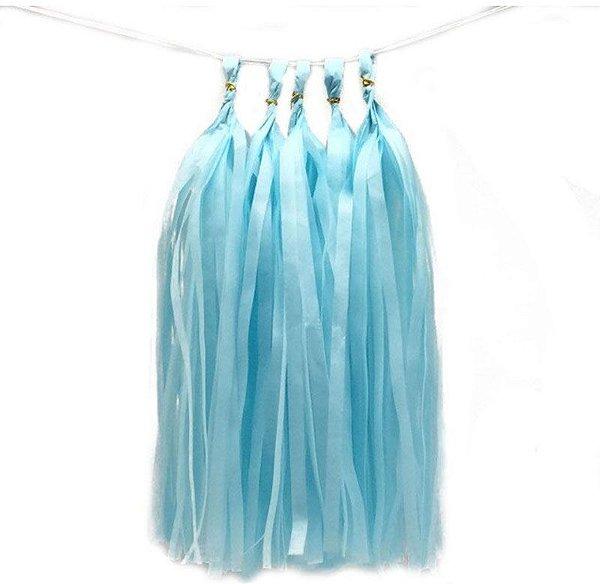 Guirlanda / Cauda Balão Franjas - Pompom Azul Claro (5un)