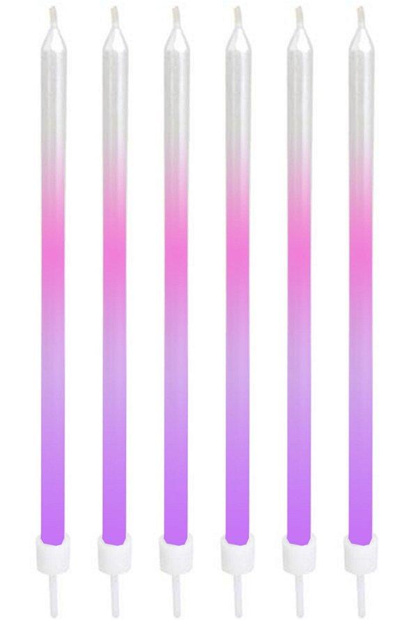 Velas palito Ombré - 13 cm (6 unidades)