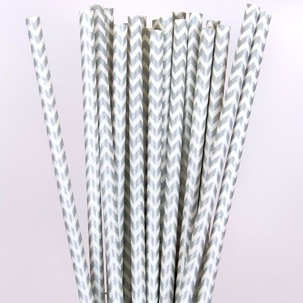 Canudo de papel chevron Prata - 20 unidades