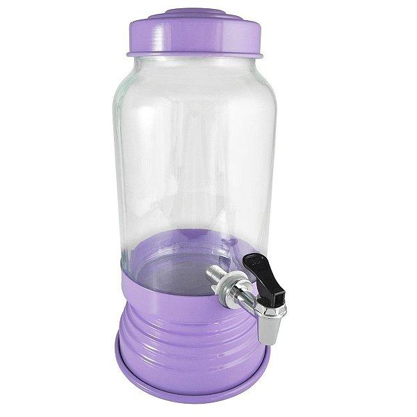 Suqueira de vidro com torneira (lilás) - 3,250 ml