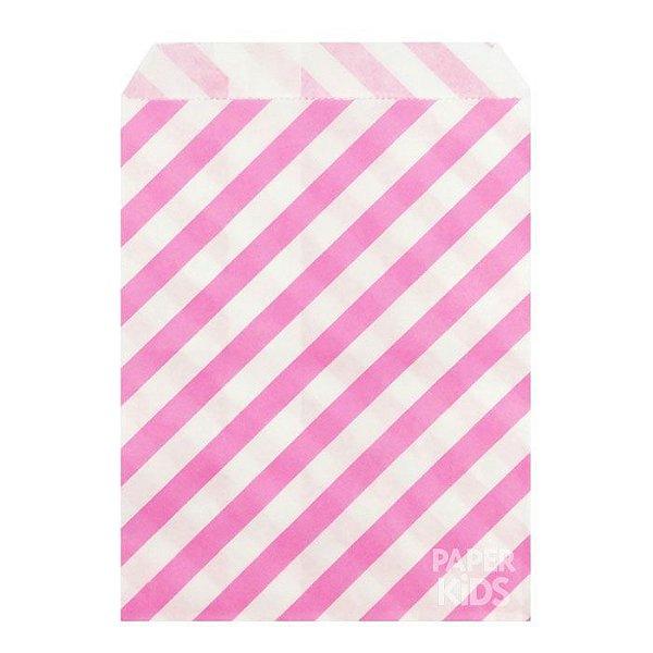 Saquinho de papel listras - Rosa 13x18 cm (10 unidades)