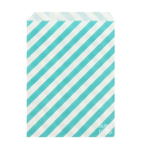 Saquinho de papel listras - Azul Acqua 13x18 cm (10 unidades)