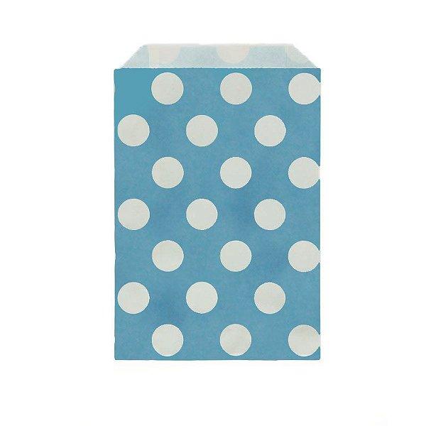 Saquinho de papel bolinhas - Azul 12x18 cm (12 unidades)