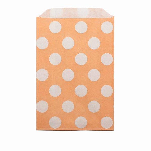 Saquinho de papel bolinhas - Tangerina 12x18 cm (12 unidades)