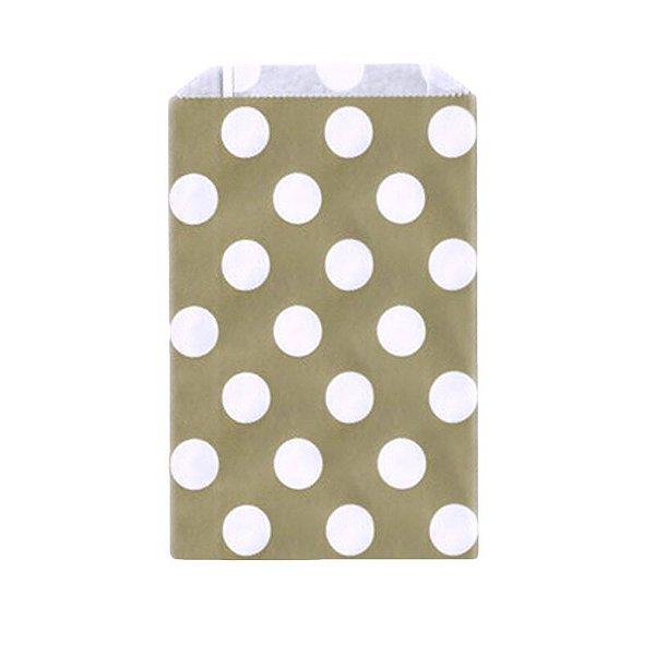 Saquinho de papel bolinhas - Dourado fosco 12x18 cm (12 unidades)