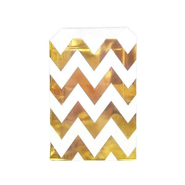 Saquinho de papel listras - Chevron Dourado 12x18 cm (12 unidades)