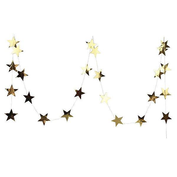 Bandeirola dupla face Estrela - Dourada (10 cm diâmetro - aproximadamente 27estrelas e 3.8metros de cordão)
