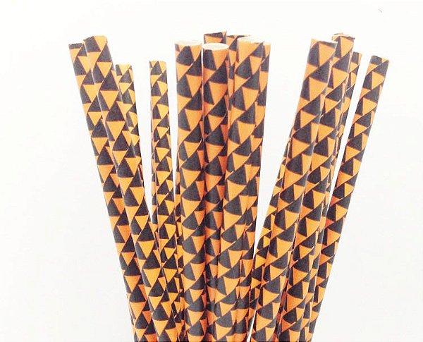 Canudo de papel laranja - Bandeirinhas (20 unidades)