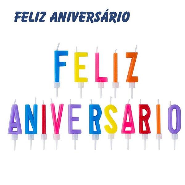 Vela Feliz Aniversário sortidas - (16 velas)