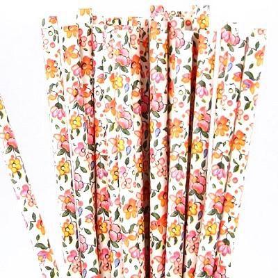 Canudo de papel Floral Vintage - 20 unidades