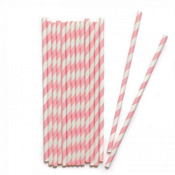 Canudo de papel listras rosa claro - 20 unidades