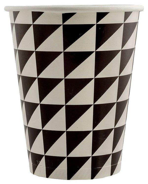 Copo de Papel 240ml Geométrico - Preto e Branco (16 unidades)